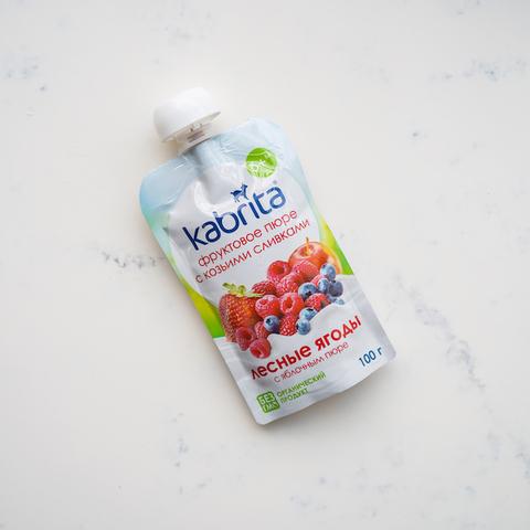 Фруктовое пюре с козьими сливками лесные ягоды с 6 мес. Kabrita, 100 гр