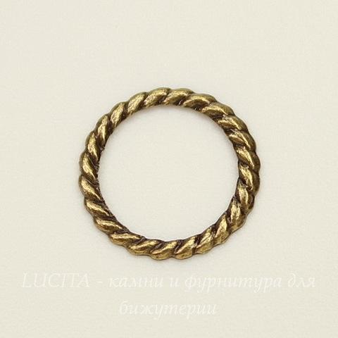 Винтажный декоративный элемент - коннектор Кольцо 9 мм (оксид латуни)