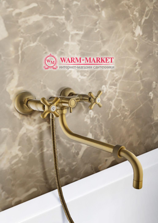 Elg Bronze 021 - бронзовый смеситель для ванны с длинным изливом