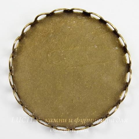 Сеттинг - основа для камеи или кабошона 25 мм (оксид латуни)