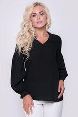 Шикарная блузка для любого торжества. Свободный крой, V-образный вырез с отложным воротом. Длинный рукав, отрезной по линии ниже плеча на сборке. Пышный рукав к низу на эффектном кружеве. По бокам блузки разрезы. Длина блузки: 69см (рукав 58см)