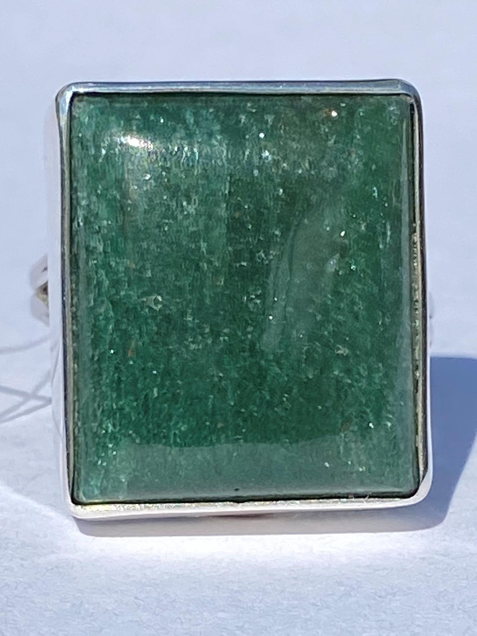 Авантюрин КВ (кольцо из серебра)