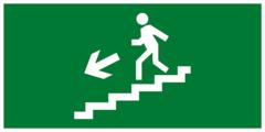 Эвакуационный знак - по лестнице вниз налево