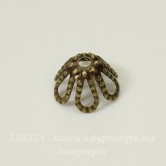 Винтажный декоративный элемент - шапочка филигранная 7х4 мм (оксид латуни)