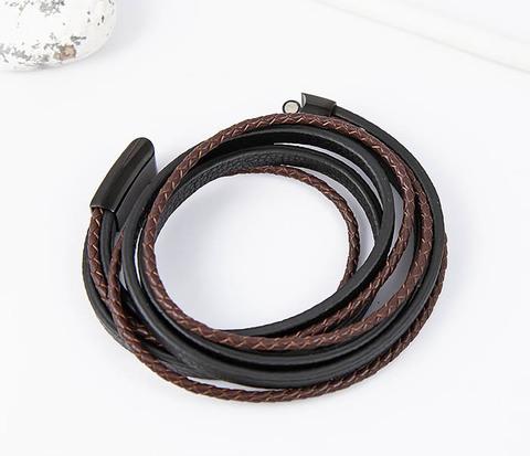 Мужской браслет из кожаных полос и шнуров (19,5 см)