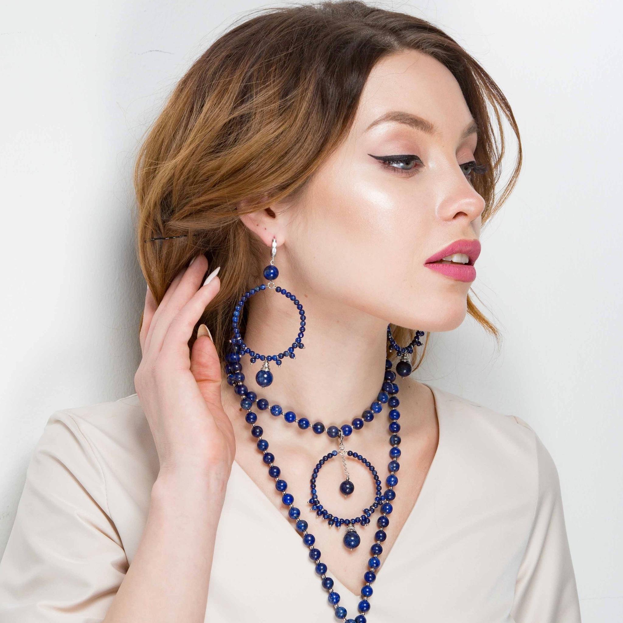 Купить Серьги Gypsy кольца из лазурита, покрытие родий, LaMonde