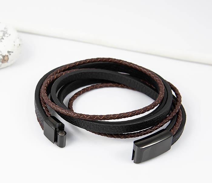 BM515 Мужской браслет из кожаных полос и шнуров (19,5 см) фото 02