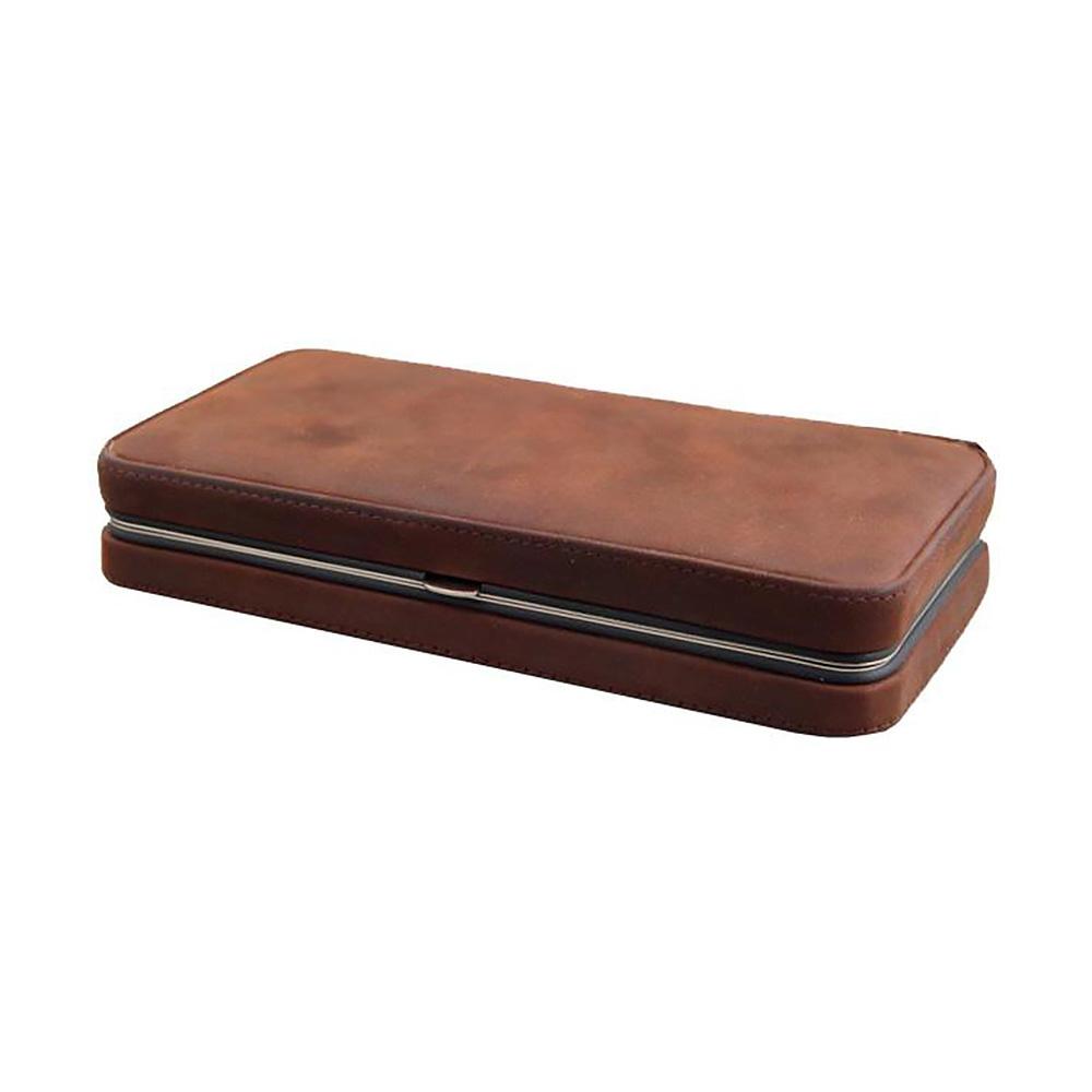 Мужской дорожный набор Dovo, 6 предметов, цвет коричневый, кожаный футляр
