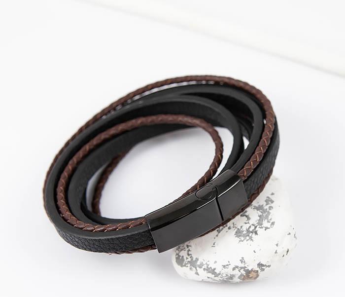 BM515 Мужской браслет из кожаных полос и шнуров (19,5 см) фото 03