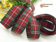 Лента текстильная красно-еловая ширина 25 мм