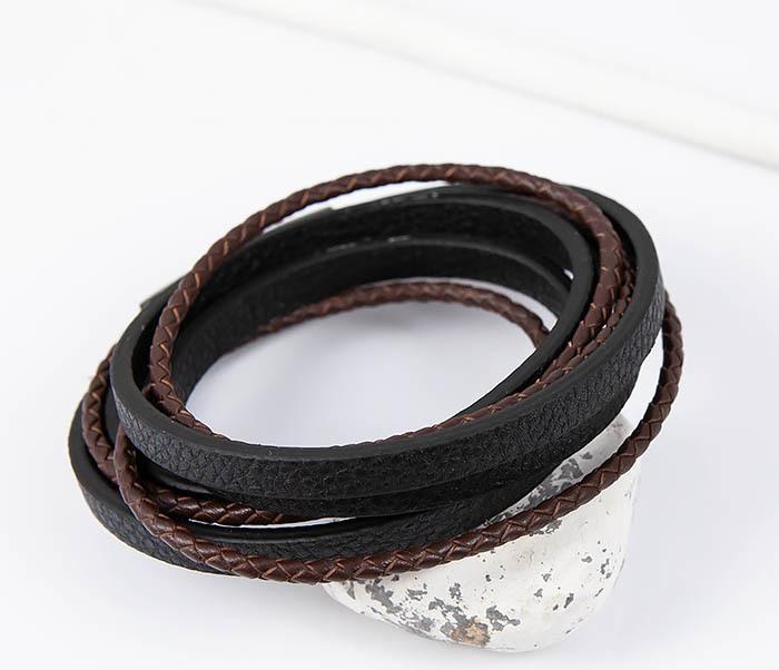 BM515 Мужской браслет из кожаных полос и шнуров (19,5 см) фото 04
