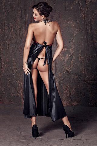 Длинная эротическая сорочка и черные атласные стринги
