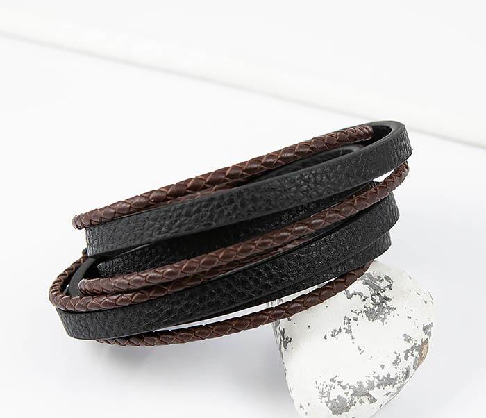 BM515 Мужской браслет из кожаных полос и шнуров (19,5 см) фото 05