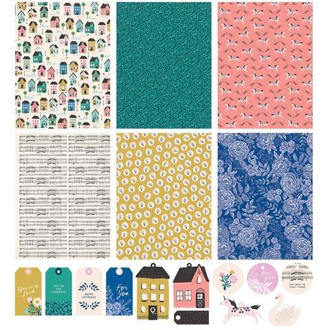Набор упаковочной бумаги с украшениями- Maggie Holmes Willow Lane Gift Wrap Book -6 дизайнов