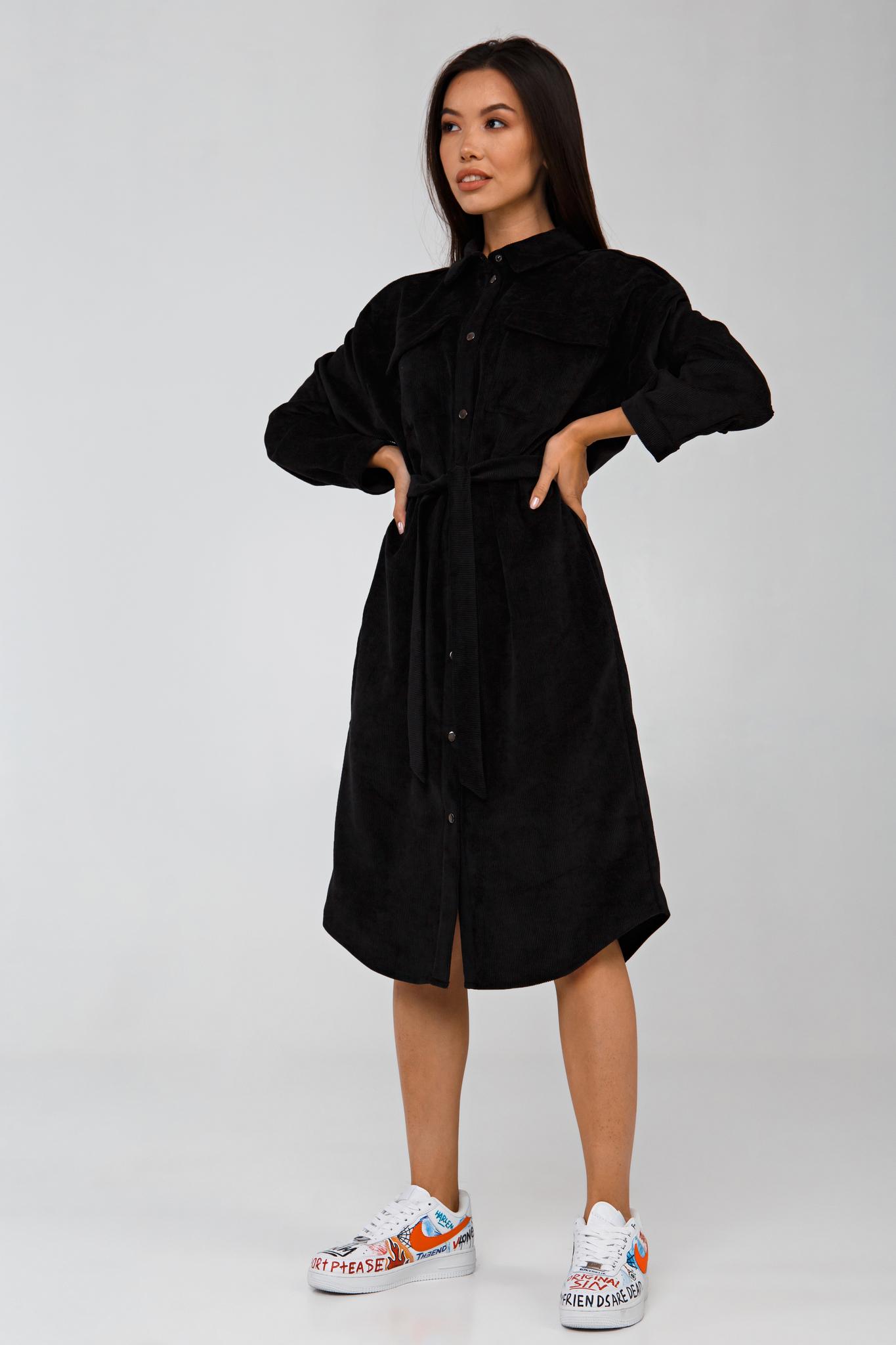 Платье-рубашка графитовое из вельвета в рубчик YOS