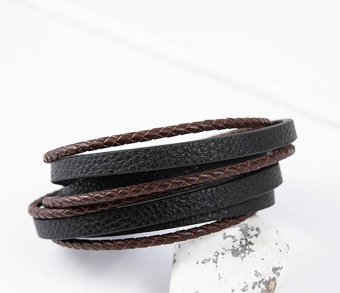 BM515 Мужской браслет из кожаных полос и шнуров (19,5 см) фото 06