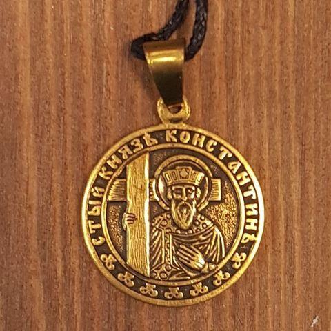 святой Константин именная нательная икона из бронзы кулон с молитвой