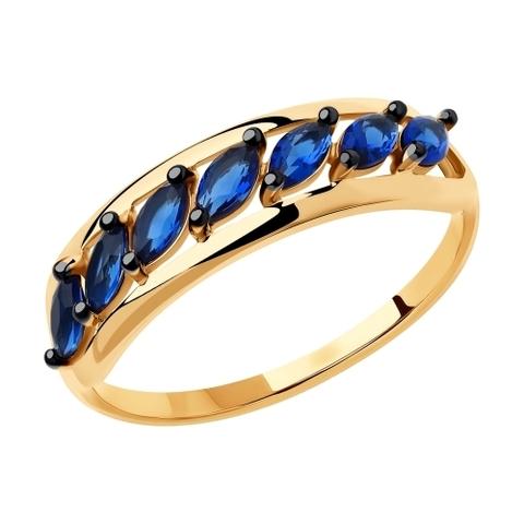 018388 - Кольцо из золота с синими фианитами