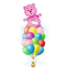 Букет шариков с медведем для девочки