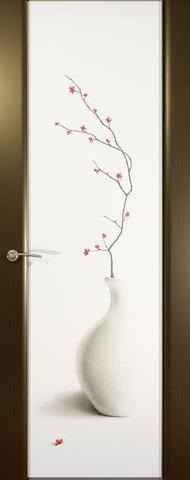 Дверь Океан Prestige Estel Шторм-3, стекло белое с рисунком Сити Стайл, цвет венге, остекленная