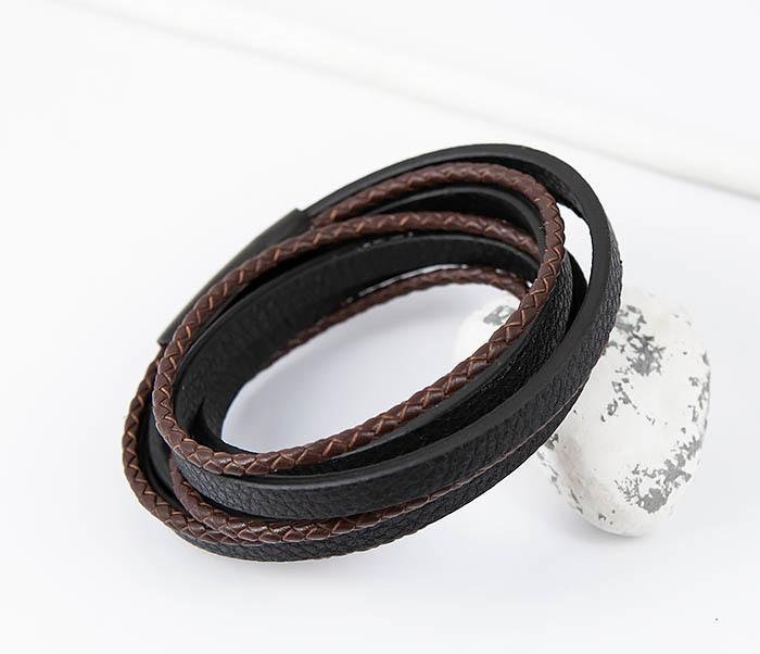 BM515 Мужской браслет из кожаных полос и шнуров (19,5 см) фото 07