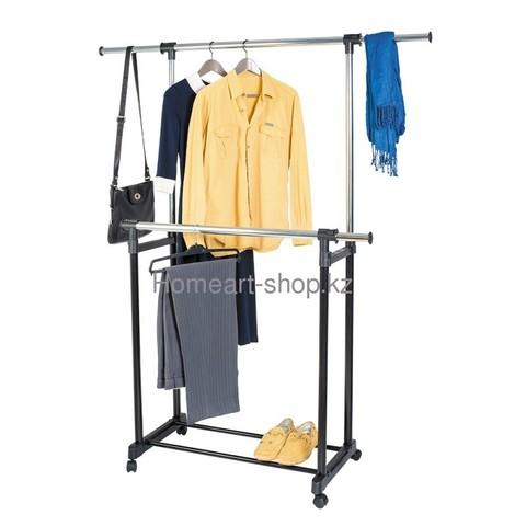 Двойная мобильная стойка для одежды с боковыми выдвижными штангами