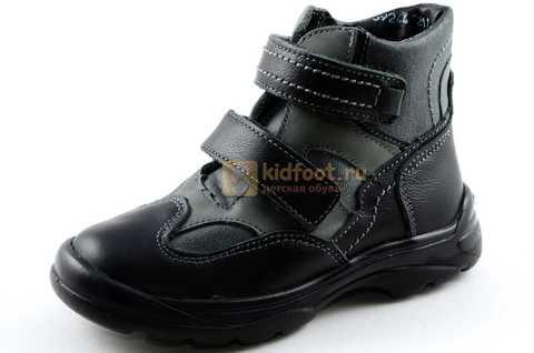 Ботинки Тотто из натуральной кожи демисезонные на байке для мальчиков, цвет черный. Изображение 1 из 11.