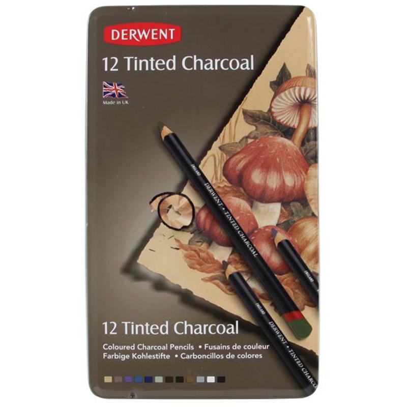Набор из 12 угольных карандашей Derwent Tinted Charcoal