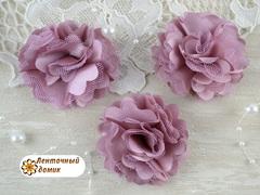 Цветы атласные с фатином лиловые диаметр 5 см