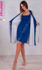 Евромама. Комплект халат и сорочка синий, большие размеры