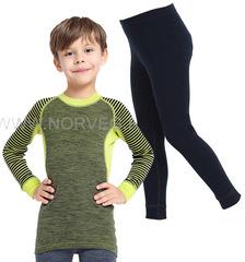 Комплект термобелья из шерсти мериноса Norveg Climate Control Lime-Black детский