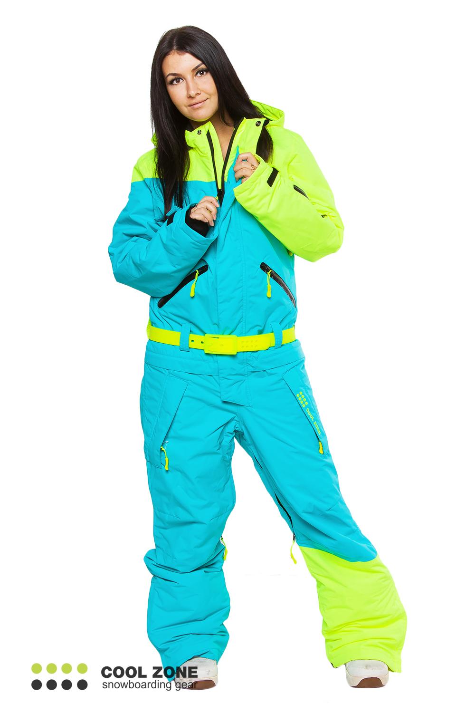 Сноубордический комбинезон Cool Zone бирюза-салат (2427) женский