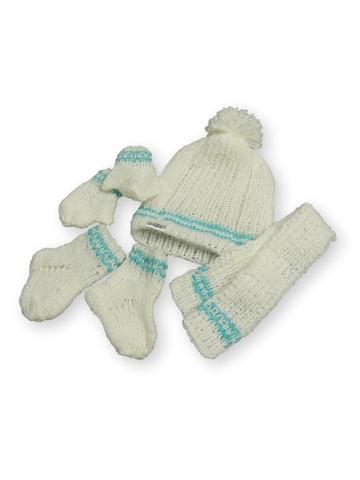 Вязаный комплект - Белый / мята. Одежда для кукол, пупсов и мягких игрушек.