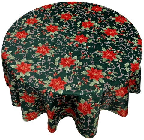 Скатерть круглая 178 Carnation Home Fashions Christmas Fabric Tablecloths Poinsettia Floral