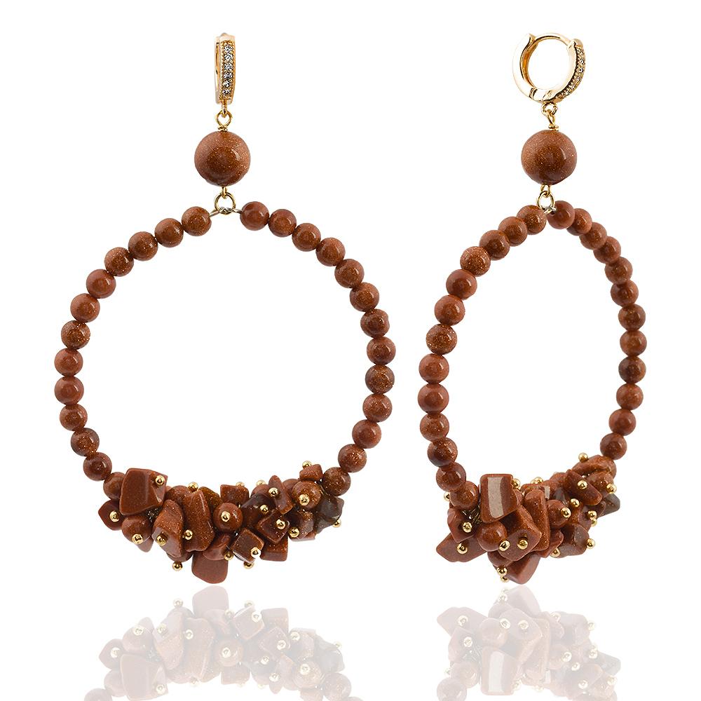 Купить Серьги Gypsy Sahara кольца из авантюрина золотой песок , LaMonde