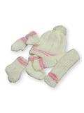Вязаный комплект - Белый / розовый. Одежда для кукол, пупсов и мягких игрушек.