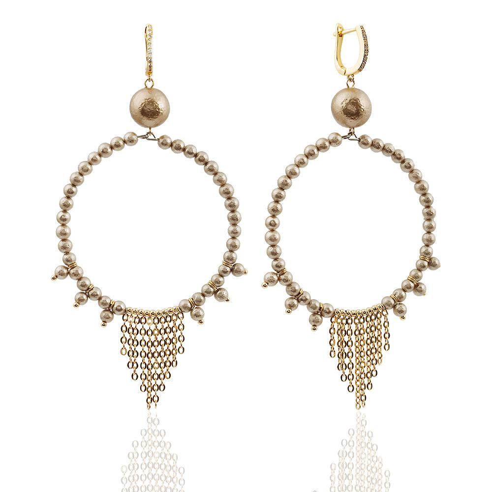 Купить Серьги Gypsy Монако кольца из золотого жемчуга майорки, LaMonde