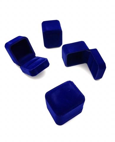 Бархатная, подарочная коробка под кольцо/серьги синяя