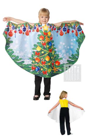 Картинка Костюм Елочки для девочки в виде удобного и красочного полупончо сшитого из креп-сатина и сетки с напылением. Отделка: тесьма