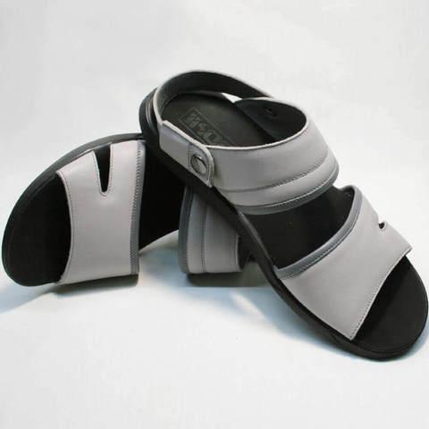 Кожаные босоножки шлепанцы мужские. Стильные мужские сандалии серого цвета Ikoc-Gray.