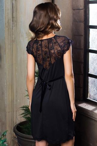 Элегантная черная эротическая женская короткая красивая итальянская туника сорочка миа миа с кружевом вид сзади
