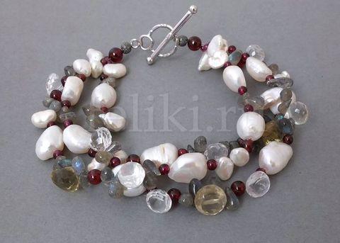 браслет из жемчуга и полудрагоценных камней