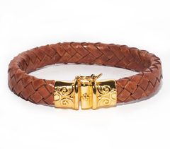Браслет Nialaya Men's Brown Leather Bracelet with Gold Lock