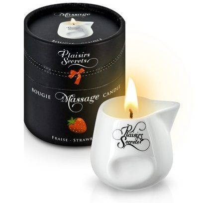 Массажные масла и свечи: Массажная свеча с ароматом клубники Bougie de Massage Gourmande Fraise - 80 мл.