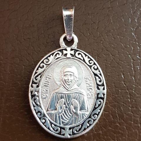 Нательная именная икона святая Кира с серебрением кулон с молитвой