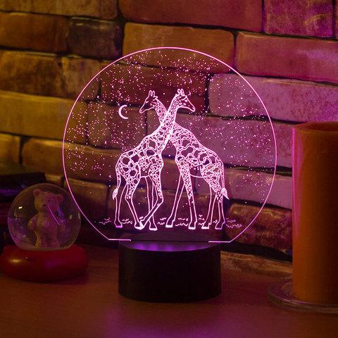 3D светильник Два жирафа