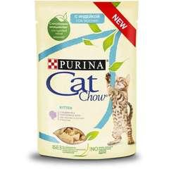 Cat Chow для котят с индейкой и кабачками в желе 85 гр