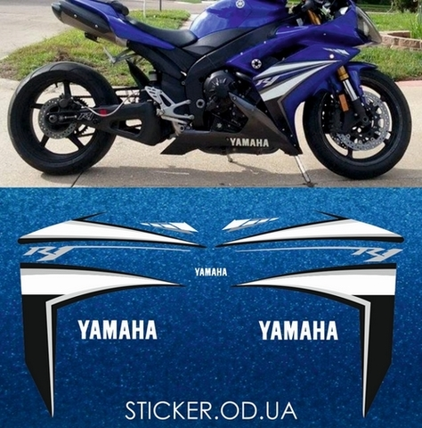 Набор виниловых наклеек на мотоцикл YAMAHA YZF-R1 2007
