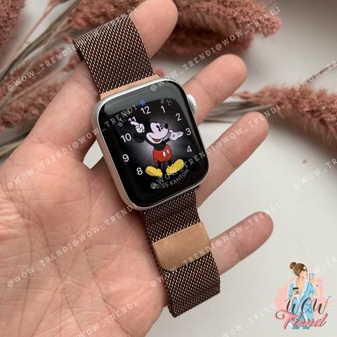 Ремешок Apple watch 42/44mm Milanese Loop /brown/ коричневый