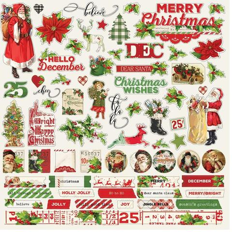 Стикеры 30х30 см. - Simple Vintage Christmas- Combo